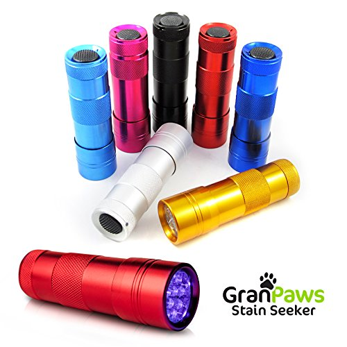 UV Black-Light Flashlight Pet Urine Detector. Ultra-Bright Led Cordless Stain Finder for Detecting Dry Dog Cat and Pet Urine/Pee. GranPaws® Stain Seeker RED Color. A Unique Gift Giving Idea.