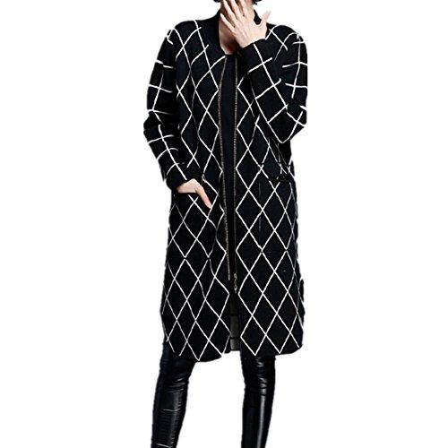 Moda donna maglione girocollo maglia maglione cardigan , black , xl