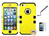 Apple Iphone 5 Dual Layer Hybrid heavy duty Phone Protector Hard Cover Case With Crystal Stylus Pen, Screen Protector, Stand (Yellow)