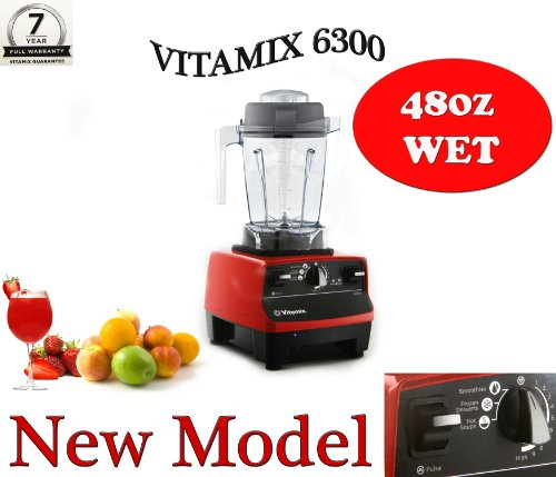 VITAMIX 6300 RED - With Compact 48 Oz Container, Featuring 3 Pre-programmed Settings, Variable Speed Control, and Pulse Function . Includes Savor Recipes Book and DVD (Pulse Vitamix compare prices)