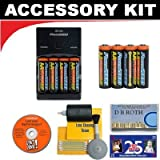 Deluxe Accessory Kit with Charger & 8 AA Rechargeable Batteries For The Kodak Easyshare Z915, Z1485 IS, M380, C140 Digital Cameras