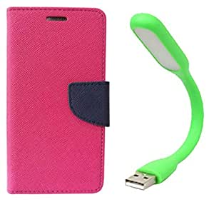 Novo Style Book Style Folio Wallet Case Samsung Galaxy J7 (2016) Pink + Mini USB LED Light Adjust Angle / bendable Portable Flexible USB Light