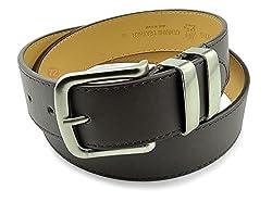 Moda Di Raza-Men's 'Sharp' Leather Belt - Brown/M