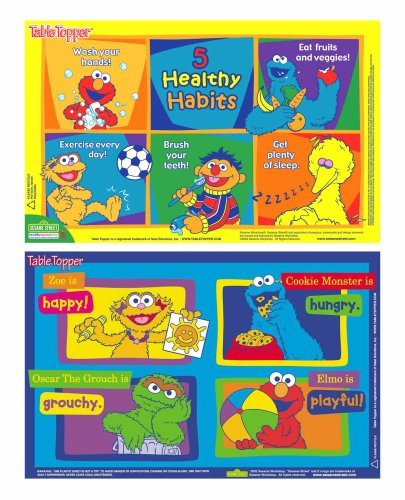 Sesame Street Table Topper Disposable Stick-on Placemats with Reusable Pop-up Travel Case, 50-Count