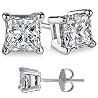 STERLING SILVER Round and Princess Combo Cubic Zirconia Stud Earrings 3.00 Carat Total Each Pair by U.S.A