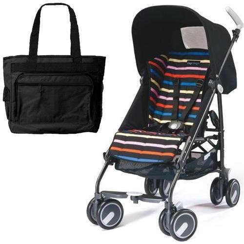 Peg Perego Pliko Mini Stroller With A Black Diaper Bag