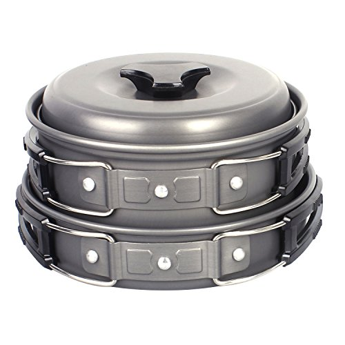 Camping Pots, Portable Hard Anodized Aluminum Non-stick Cooking Ware Cookware Picnic Bowl Pot Pan Kits ( Set of 10 ) (Aluminum Cooking compare prices)
