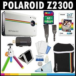 Polaroid Z2300, appareil photo numérique de 10 MP à impression instantanée (blanc) avec une carte de 8 Go + sacoche + trépied + papier Zink (30 feuilles) + sangles + kit d'accessoires