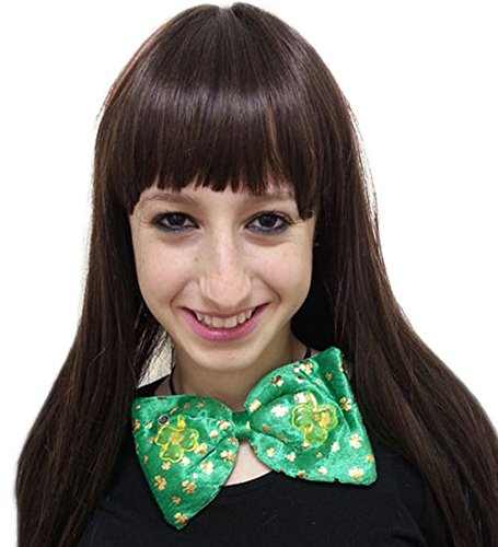 Flashing St. Pat'S Bow Tie - Large Fun Flashing Bow Tie With Golden Shamrocks For St. Patrick'S Celebrations