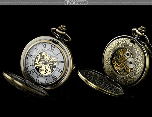Pacifistor Bronze Men's Classic Vintage Antique Hand Wind Up Semi Automatic Skeleton Mechanical Roman Numeric Analog Pocket Watch +Fob-Chain #PX-012-BRZ 5