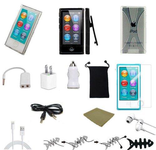 """Accessories Bundles Plusmore ® 13-Item Accessory Bundle For The Newest Apple Ipod """"Nano 7Th Gen"""" Earphones 3 Case + More"""