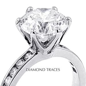 4.67 Carat Round Natural Diamond AGI Certified F-IF Excellent Cut 18k White Gold 6-Prong Setting Crown Head Engagement Ring