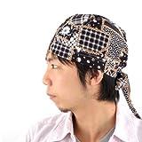 コットンバンダナキャップ【12-F】医療用帽子 バンダナ 帽子 三角巾 (ブラック【12-F】) [ウェア&シューズ]