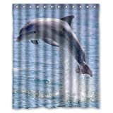 "Welcome!Waterproof Decorative Cute Dolphin Shower Curtain 60""x72""-6"