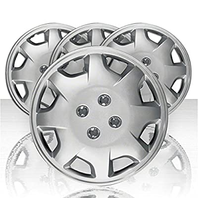 "Set of Four 13"" Silver ABS 8 Spoke Wheel Covers (Push-on)"