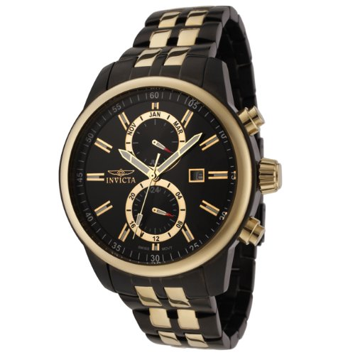 Invicta Men's 0254 II Collection 18k Gold-Plated and Black Stainless Steel Watch