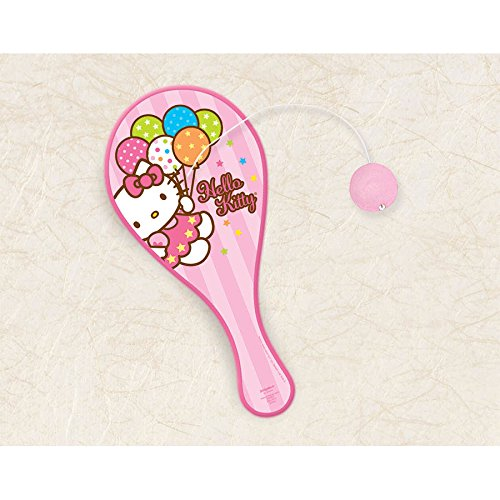 Amscan Adorable Hello Kitty Paddle Ball Birthday Party Toy Favor (1 Piece), 8 3/4