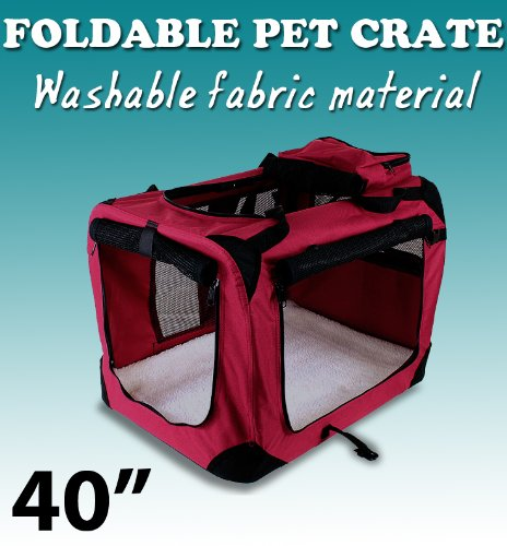 New Xl Dog Pet Puppy Portable Foldable Soft Crate Playpen Kennel House - Red front-1014911
