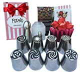 Unique Set of Russian Piping Tips by Forno 12 PIECE SET (8 Different Flower Nozzles + Matching COUPLER + Double Sided Cleaning Brush + Sphere Tip + Small Leaf Tip) Instruction Book Included