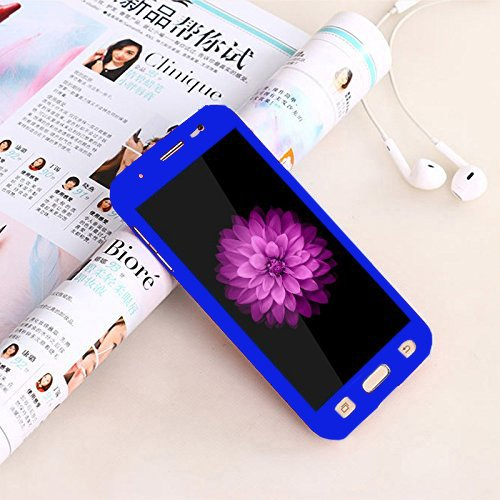 CEDO 360 Degree Full Body Protection Front & Back Case Cover for Samsung J7(6) 2016 J710 With Tempered Glass (iPaky Style) - Blue