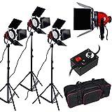 2400W Kit d'éclairage feux continu pour Studio Photo--3*800W tête rouge feux en continu+Ampoule halogène+trépied studio avec sac de transport,feu kit projecteurs mandarines Lumière Vidéo professionnelle