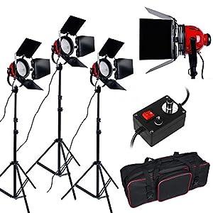 2400W Kit d'éclairage feux continu pour Studio Photo--feu kit projecteurs mandarines Lumière Vidéo professionnelle -- 800W TÊTE ROUGE KIT DE FEUX EN CONTINU, 3200K Ampoule halogène, Trépied studio avec sac de transport