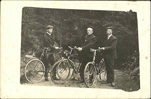 Three-Men-in-Suits-with-Bicycles-Original-Vintage-Postcard