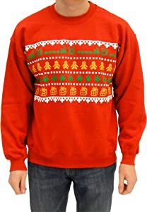 Ugly Christmas Sweater - Wreath Gingerbread Marijuana Presents Adult Red Sweatshirt