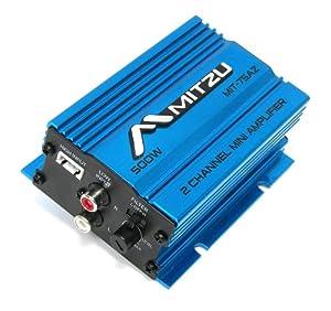 Blue Mitzu Mit-75az 2 Channel 500 Watt Car Audio Amplifier Motorcycle ATV Amp Amps by Mitzu
