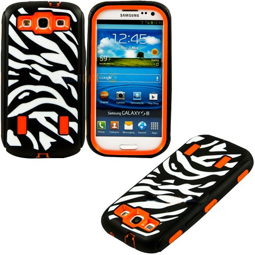 Mylife (Tm) Black And Tangerine Orange - Zebra Stripe Print Armor Series (3 Piece Neo Hybrid Flexi Case + Urban Body Armor Glove) Case For Samsung Galaxy S3 Gt-I9300 And Gt-I9305 Touch Phone (Thick Silicone Outer Gel + Tough Rubberized Internal Shell)
