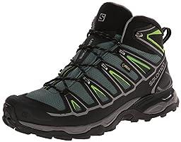Salomon Men\'s X Ultra Mid 2 GTX Multifunctional Hiking Boot, Beetle Green/Black/Spring Green, 12 M US