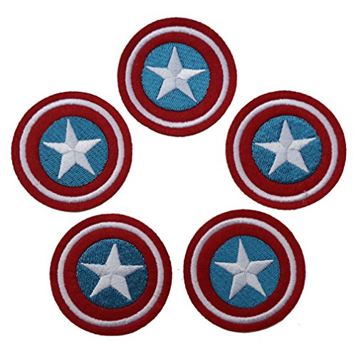Lot of 5 Pieces, Captain America Shield Iron on Patch Logo Fabric Applique (Captain America Logo Iron On compare prices)