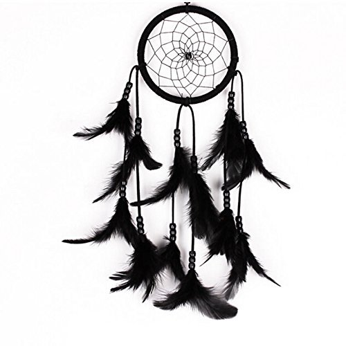Generic 1 Piece Black Wall Hanging Dream Catcher with Bead Feather Decoration