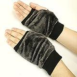 (ベーシックエンチ) BASIQUENTI Micro Fur Glove [グレー] マイクロファーグローブ 無地 手袋 フィンガーレス タイプ 防寒 指抜き ボックスグローブ 指切り ハンドウォーマー スマホ iphone android 操作可能 スマホ
