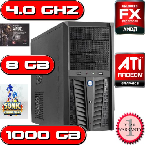 QUAD CORE AMD BULLDOZER 3.6GHZ 1TB HDD 8GB DDR3 RAM HOME DESKTOP COMPUTER PC