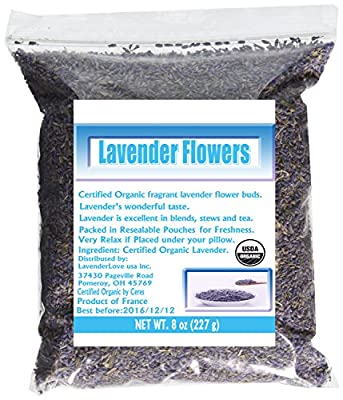 French Lavender Organic Lavender Flowers Culinary Grade 8 Oz by LavenderLove