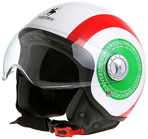 Rodeo Drive RD105FIT Italy Casco D/Jet Sfoderabile, Unisex, Italy Flag, 57-58
