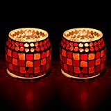 EarthenMetal Handcrafted Mosaic Design Red Coloured Matt Finish Tealight Holder (Candle Light Holder)- Set Of 2