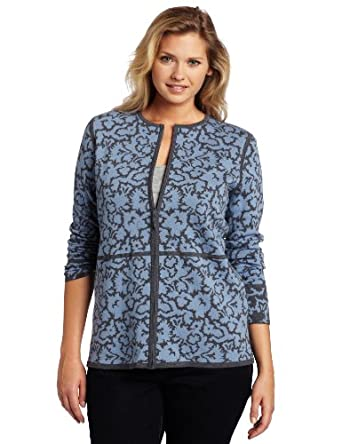 Pendleton Women's Reversible Merino Jacquard Cardigan Sweater, Cambridge Blue/Grey Heather, 2x