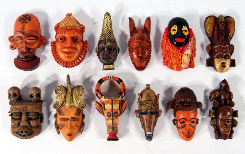 Wholesale Pack Handpainted African Mask Arts Assorted Magnet (Set Of 12)