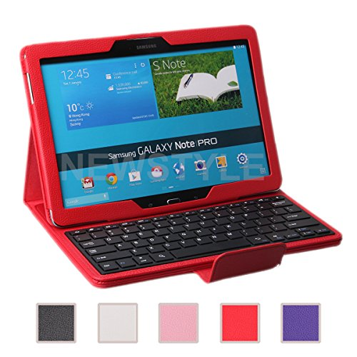 Newstyle Samsung Galaxy Note Pro & Tab Pro 12.2 Case - Wireless Bluetooth Keyboard Cover For Galaxy Notepro & Tabpro 12.2 Inch Android Tablet - Red Color