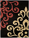 "Maxy Home Contemporary Filigree Spade 5'3"" x 6'11"" Black Red Beige Area Rug Pasha Collection PAS4640"