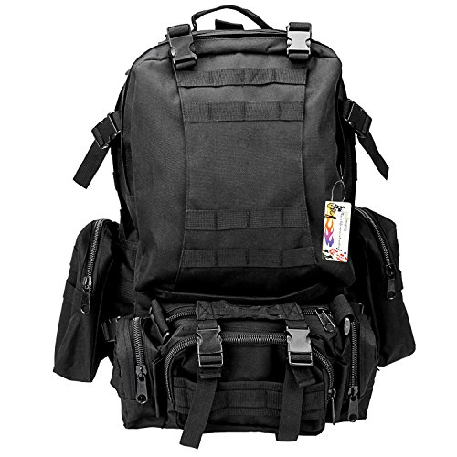 Hugmania 55L Military Assault Tactical Backpack 3 Molle Bags Pack Combat Rucksack Gear with 3L Water Bladder/ Boonie Cap/ Survival Multitool Kit for Camping, Hiking, Trekking, Climbing, Travel (Black) (Plate Carrier Removable Belt compare prices)