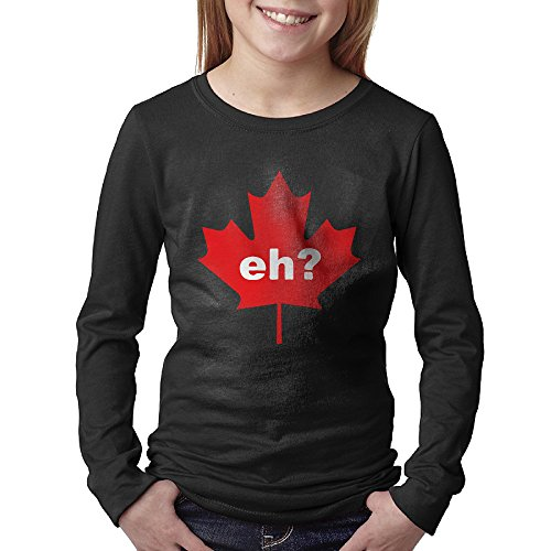 Canada Eh Maple Leaves Tee T Shirt Long Sleeved Youth Teenagers Youngsters Callan Black Large (Canada Longsleeved Shirt compare prices)