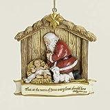 "3.5"" Joseph's Studio Kneeling Santa with Baby Jesus Christmas Nativity Ornament"