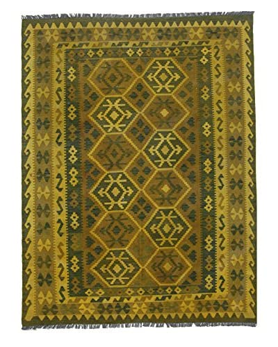 "nuLOOM One-of-a-Kind Hand-Knotted Vintage Overdyed Kilim Rug, Gold, 5' 3"" x 7' 1"""