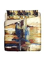 FOOL COLORS by MANIFATTURE COTONIERE Juego De Funda Nórdica Labyrinth 100% algodón (Beige/Azul)