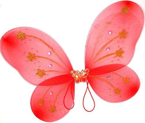 Children's Kid's Glitter Fairy Butterfly Wings Costume Red Gold