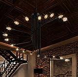 KMDJ Escalier en colimaçon retro lustre en fer forgé lustres le magasin de vêtements de style loft simple et créative salon cafe bar pendentif 800*660mm...