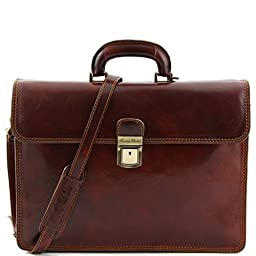 Tuscany Leather Mens [Personalized Initials Embossing] Parma Two Compartment Leather Briefcase in Brown